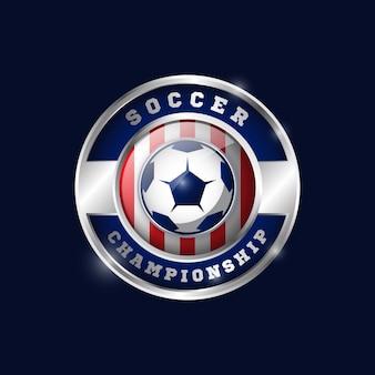 Modèle de conception de médaille métallique de football 02