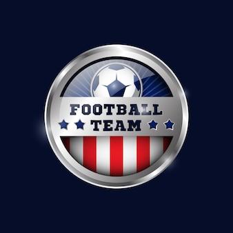 Modèle de conception de médaille métallique de football 03