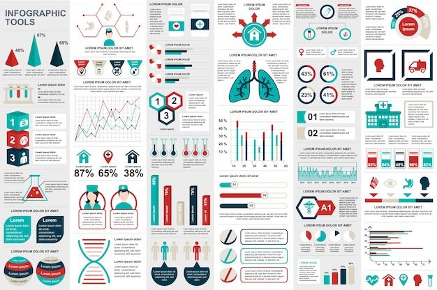Modèle de conception médicale infographie éléments données visualisation vecteur