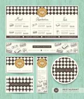 Modèle de conception de menu café restaurant sandwich