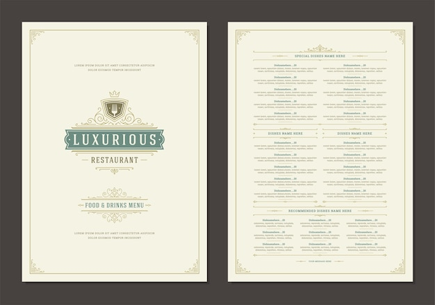 Modèle de conception de menu avec couverture et brochure de logo vintage de restaurant