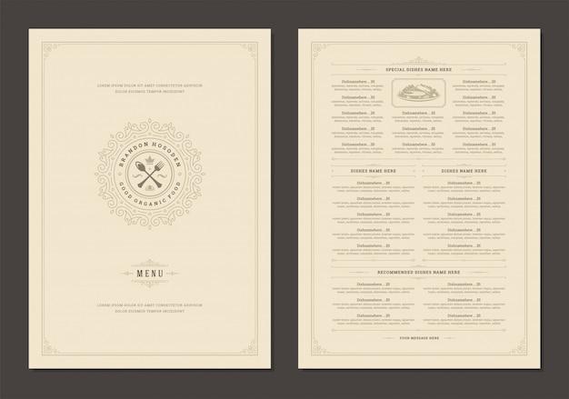 Modèle de conception de menu avec couverture et brochure de vecteur de logo vintage restaurant.