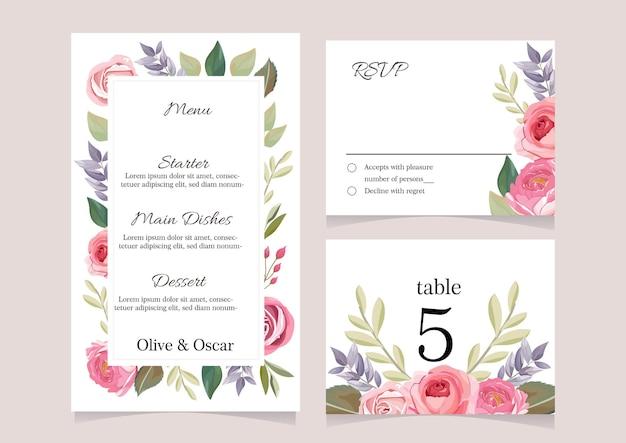 Modèle de conception de menu de mariage