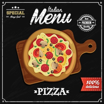 Modèle de conception de menu de pizza italienne