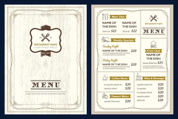 Modèle de conception de menu restaurant ou café