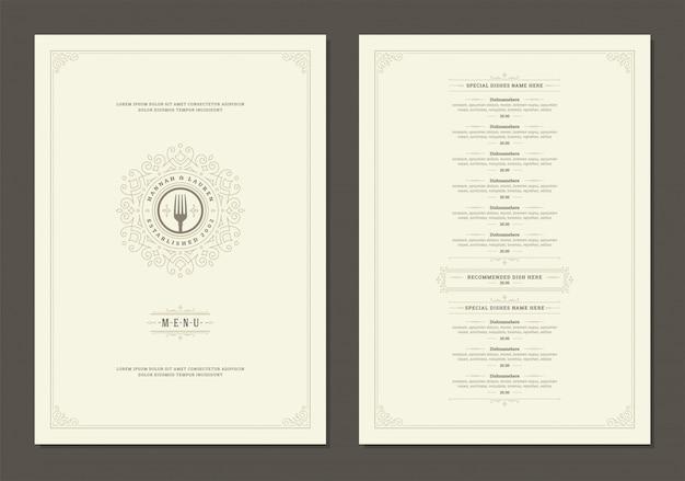 Modèle de conception de menus avec couverture et brochure de logo vintage de restaurant.