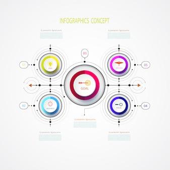 Modèle de conception métier infographie vectorielle avec 3d.