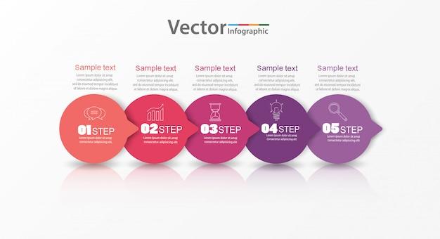 Modèle de conception métier infographique avec des icônes et 5 options ou étapes