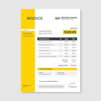 Modèle de conception minimale de facture. comptabilité des factures d'entreprise sous forme de facture.