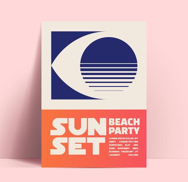 Modèle de conception minimaliste de fête de plage de coucher de soleil d'été avec l'oeil avec la silhouette de coucher de soleil