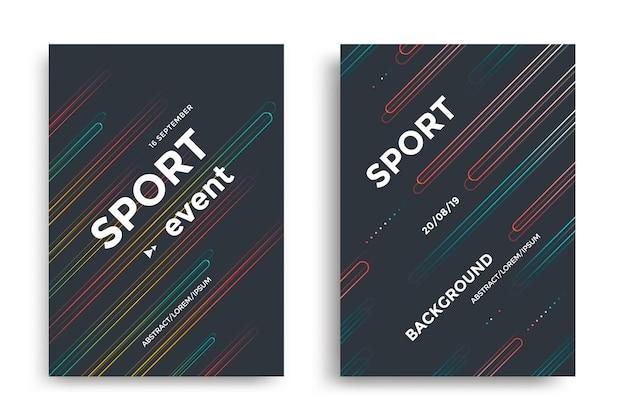 Modèle de conception de mise en page d'affiche d'événement sportif couverture moderne avec fond sombre de lignes angulaires colorées