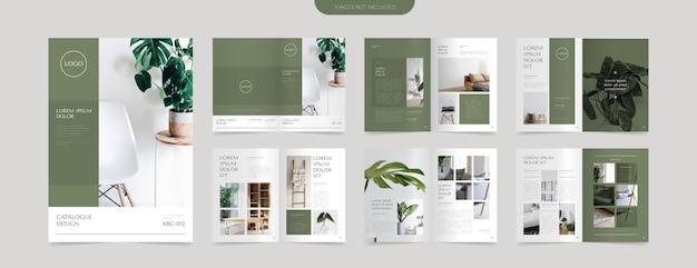 Modèle de conception de mise en page de catalogue vert moderne