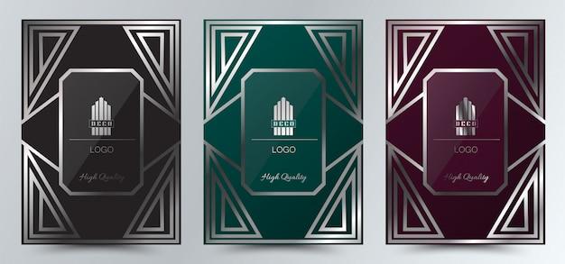 Modèle de conception de mise en page de couverture art déco de luxe,