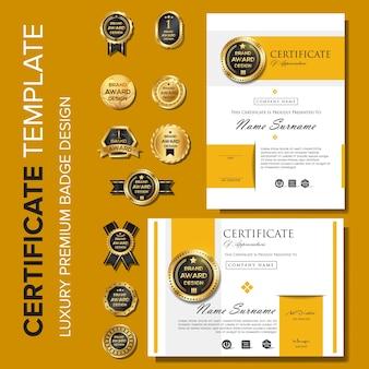 Modèle de conception moderne de certificat avec badge