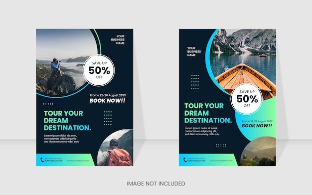 Modèle de conception moderne dégradé de flyer de voyage