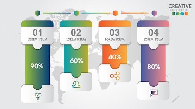 Modèle de conception moderne d'infographie pour le pourcentage d'affaires avec 4 étapes ou options