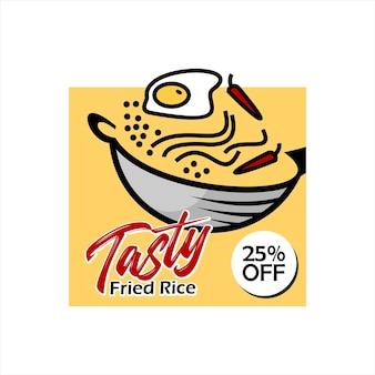 Modèle de conception moderne simple d'affiche de riz frit