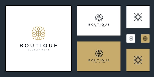 Modèle de conception de monogramme floral simple et élégant, création de logo art ligne élégante, illustration
