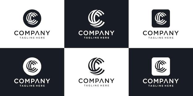 Modèle de conception de monogramme isométrique lettre c logo hipster