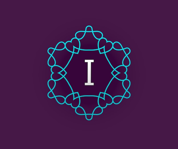 Modèle de conception de monogramme avec lettre en vecteur. turquoise de qualité premium élégante sur violet avec lettre blanche.
