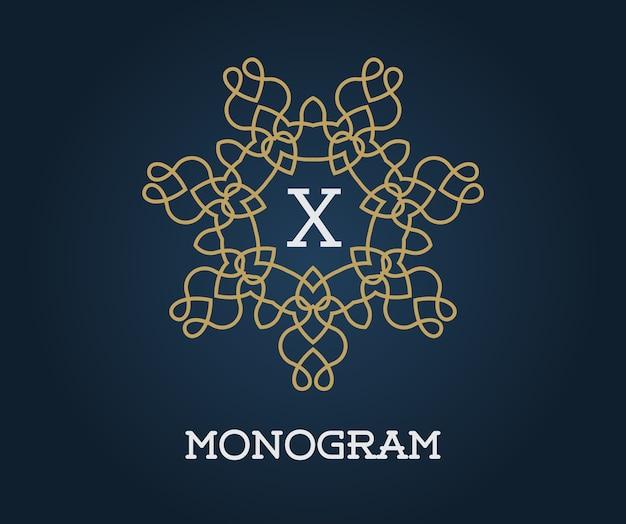 Modèle de conception de monogramme avec lettre x.