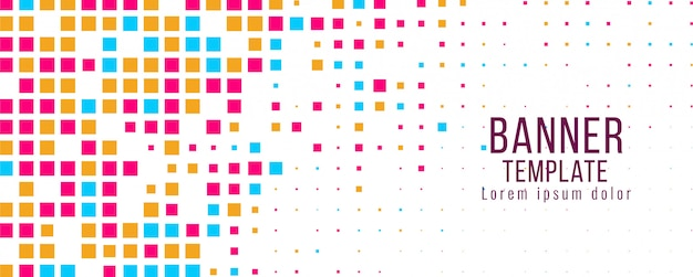 Modèle de conception de mosaïque colorée abstraite bannière