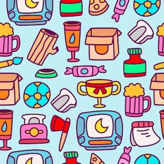 Modèle de conception de motif de dessin animé doodle