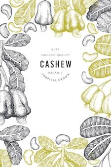 Modèle de conception de noix de cajou de croquis dessinés à la main. illustration vectorielle d'aliments biologiques sur fond blanc. illustration de noix vintage. fond botanique de style gravé.
