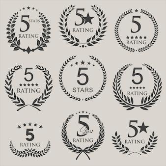 Modèle de conception de notation cinq étoiles de couronne de laurier rétro