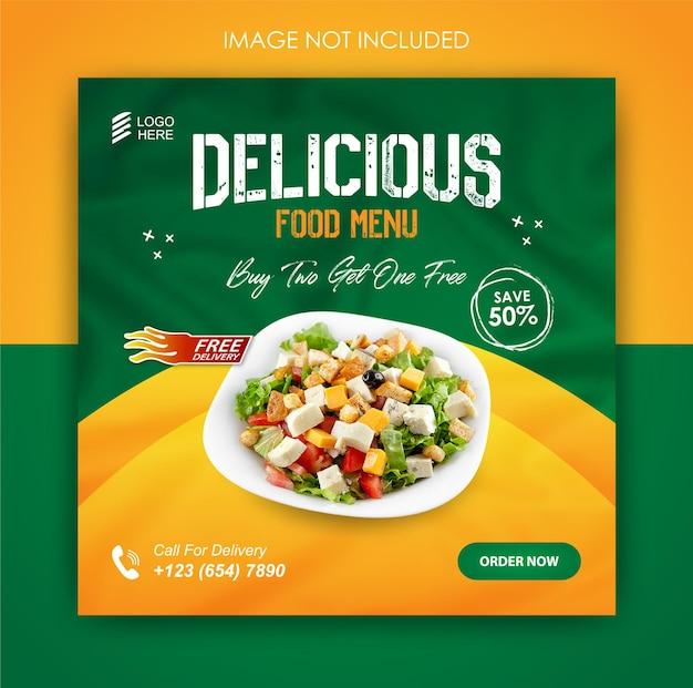 Modèle de conception de nourriture de promotion des médias sociaux et de publication instagram