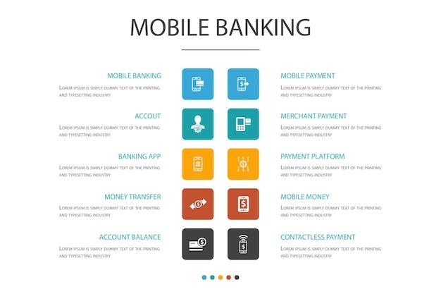 Modèle de conception de nuage d'infographie bancaire mobile. compte, application bancaire, transfert d'argent, icônes simples de paiement mobile