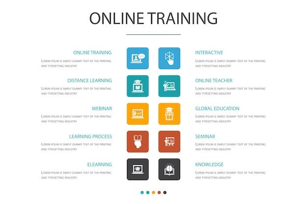 Modèle de conception de nuage d'infographie de formation en ligne. apprentissage à distance, processus d'apprentissage, apprentissage en ligne, icônes simples de séminaire