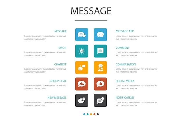 Modèle de conception de nuage d'infographie de message.emoji, chatbot, discussion de groupe, icônes simples d'application de message