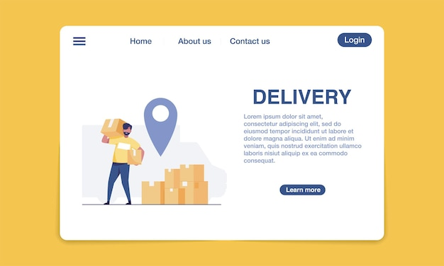 Modèle de conception de page de destination de livraison.