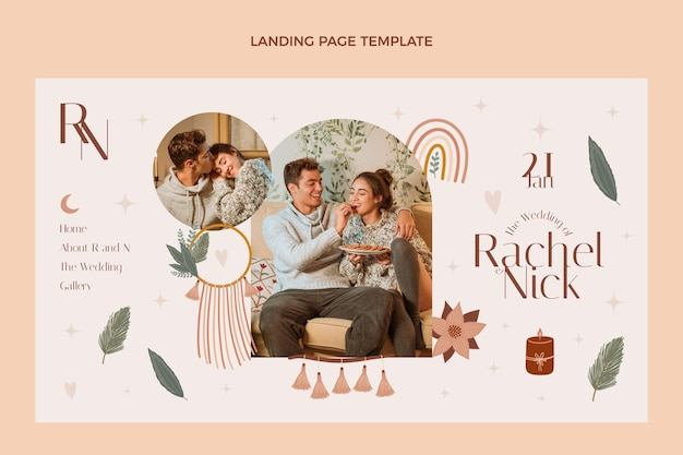 Modèle de conception de page de destination de mariage
