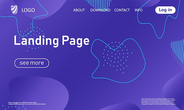 Modèle de conception de page de destination pourpre abstrait