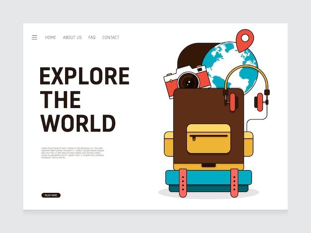 Modèle de conception de page de destination de voyage décoratif avec élément de voyage design plat moderne