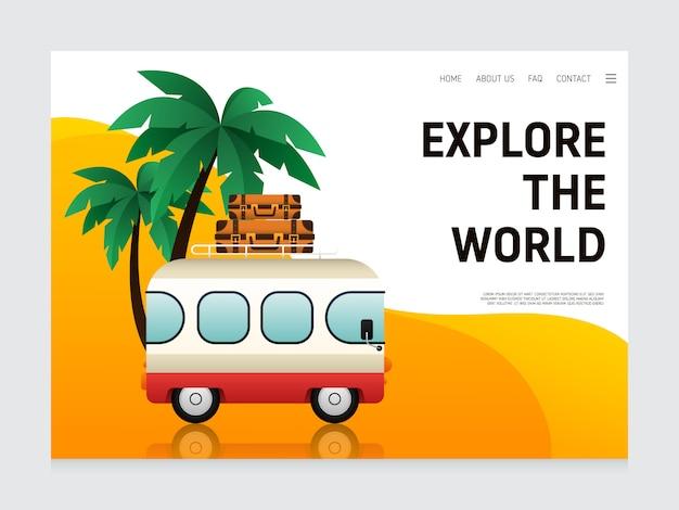 Modèle de conception de page de destination de voyage décoratif avec fourgonnette de voyage et bagages