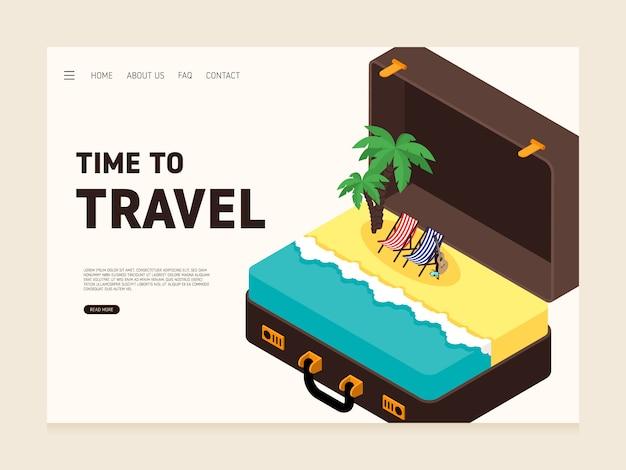 Modèle de conception de page de destination de voyage décoratif avec de gros bagages et un design plat moderne de la mer