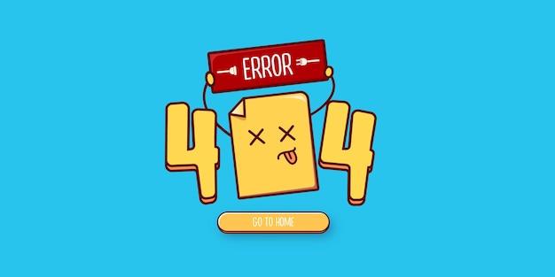Modèle de conception de page d'erreur 404 avec un personnage de document mort drôle