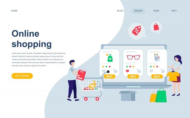 Modèle de conception de page web plat moderne d'achats en ligne
