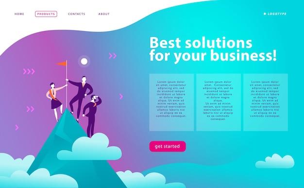 Modèle de conception de pages web vectorielles solutions d'affaires consulting concept de support marketing personnes debout sur le sommet de la montagne avec le drapeau gagnant travail d'équipe de réussite page de destination bannière web de l'application mobile