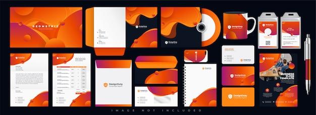 Modèle de conception de papeterie d'identité d'entreprise abstraite