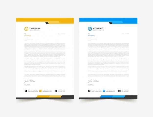 Modèle de conception de papier à en-tête abstrait jaune et bleu