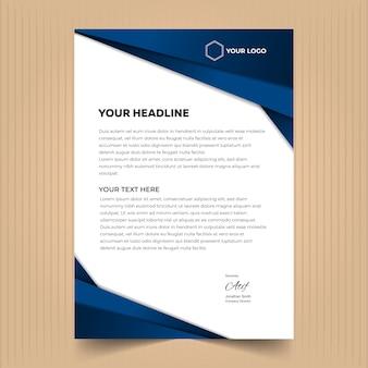 Modèle de conception de papier à en-tête créatif avec des couleurs bleu foncé
