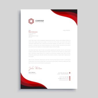 Modèle de conception de papier à en-tête élégant rouge et noir