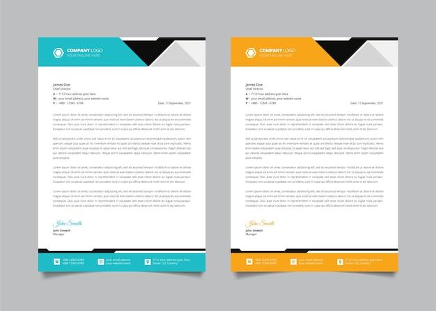 Modèle de conception de papier à en-tête d'entreprise créative