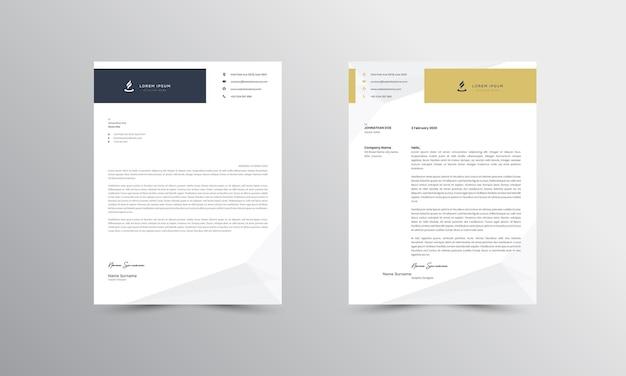 Modèle de conception de papier à en-tête d'entreprise moderne marron et jaune