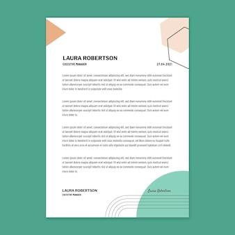 Modèle de conception de papier à en-tête de femme d'affaires