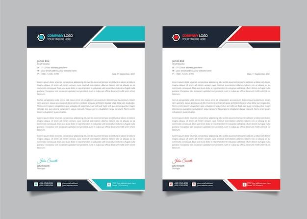 Modèle de conception de papier à en-tête moderne d'entreprise créative